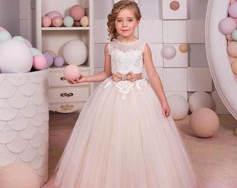 Ivory and Beige Flower Girl Dress Wedding by KingdomBoutiqueUA