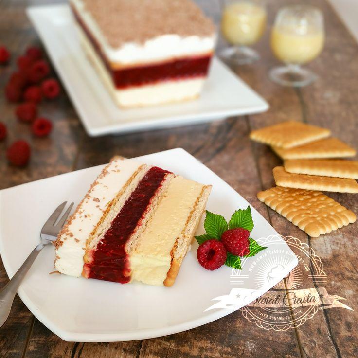 Malinowo-advocatowe ciasto bez pieczenia | Świat Ciasta