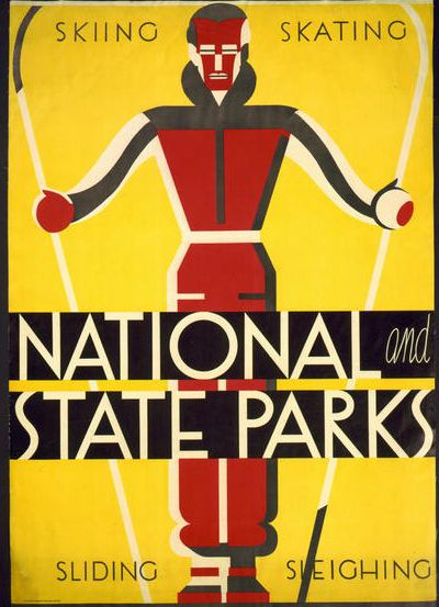 free printable, printable, wpa, national park, sports, skiing, vintage, vintage posters, graphic design, free download, retro prints, classic posters, National and State Parks, Skiing, Skating, Sliding, Sleighing - Vintage National Park Sports Poster