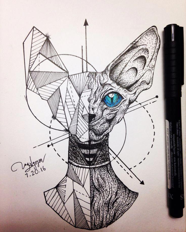 Awesome Geometric Tattoo Cat Geometric Sphinx Coolgeometrictattos Geometric Cat Tattoo Cat Tattoo Designs Cat Tattoo