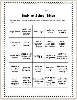 Superb image regarding back to school bingo printable