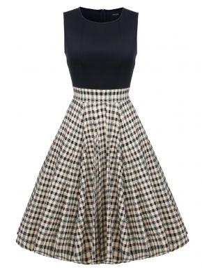 ACEVOG Siyah Kadın 1950'li Vintage Stil Retro Kolsuz Halı Örgü Hattı A-line Kokteyl Midi Partisi Casual Elbiseleri