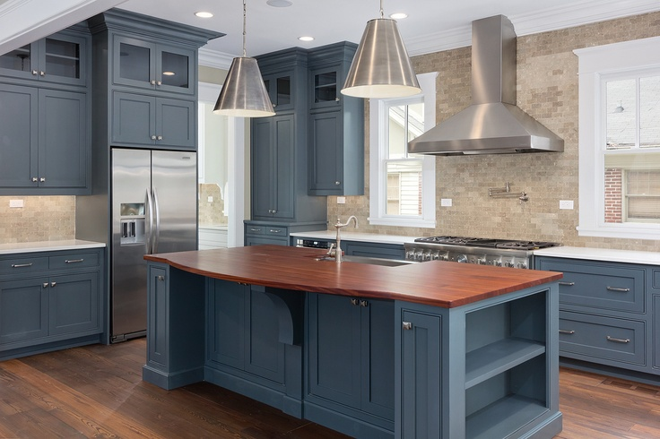 Blue Cabinets Stainless Steel Appliances Thermador Kitchens Pinterest Stainless Steel