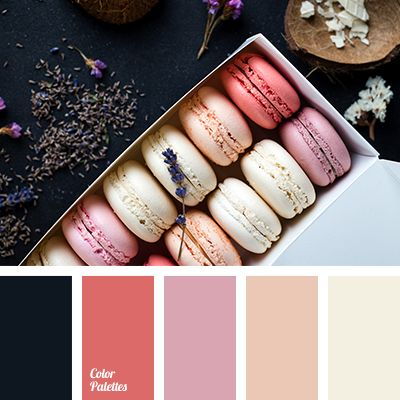 """""""dusty"""" purple, almost black, beige, blue-black color, brick red, color macaroon, color of cherry macaroon, color of vanilla macaroons, coral, creamy, peach, selection of colors for a living room."""