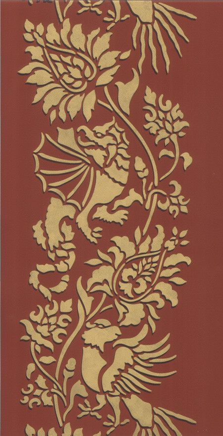 Oriental brocade wall stencil stripes studios and paint - Oriental stencils for walls ...