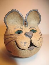 Handmade Pottery Kitty Cat Figure Figurine - Signed Sculpted Clay ORIGINAL