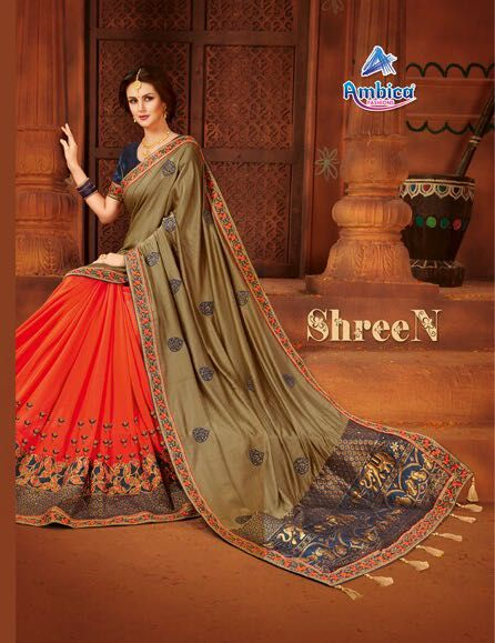 ea9984a4b3a298 Ambica Fashion Shreen Heavy Designer Fancy Fabric with embroidery Work  Party Wear Sarees Collection at Wholesale Rate