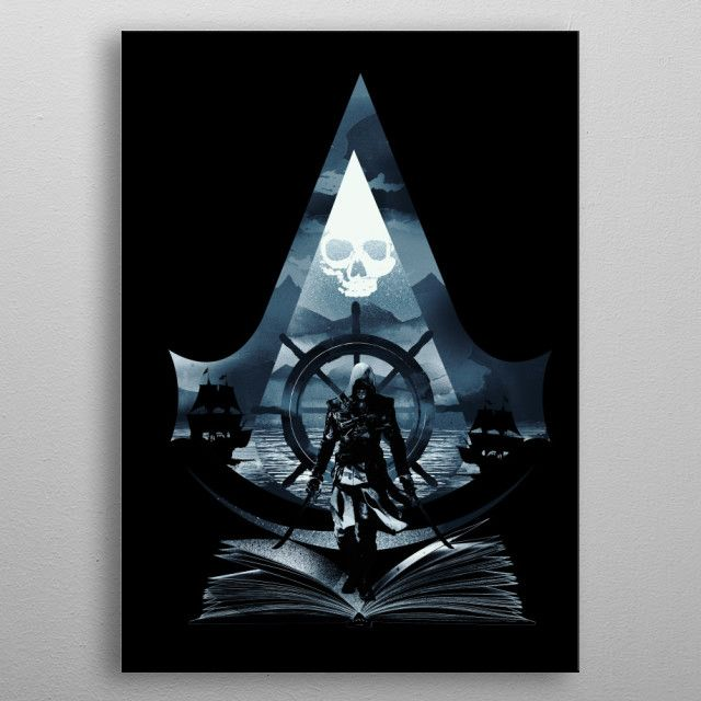 Black Flag Poster Print By Dan Fajardo Displate Assassin S Creed Black Assassins Creed Black Flag Assassin S Creed Wallpaper
