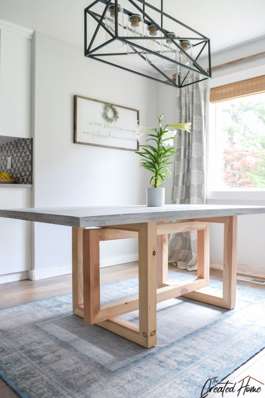 Concrete And Wood Geometric Collection Dining Table Diy Dining