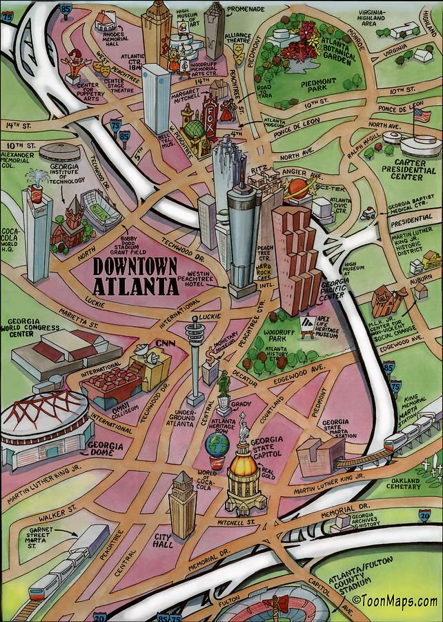 Map Of Oregon State Fairgrounds%0A  u    Downtown Atlanta Georgia Cartoon Map u     Poster by Kevin Middleton