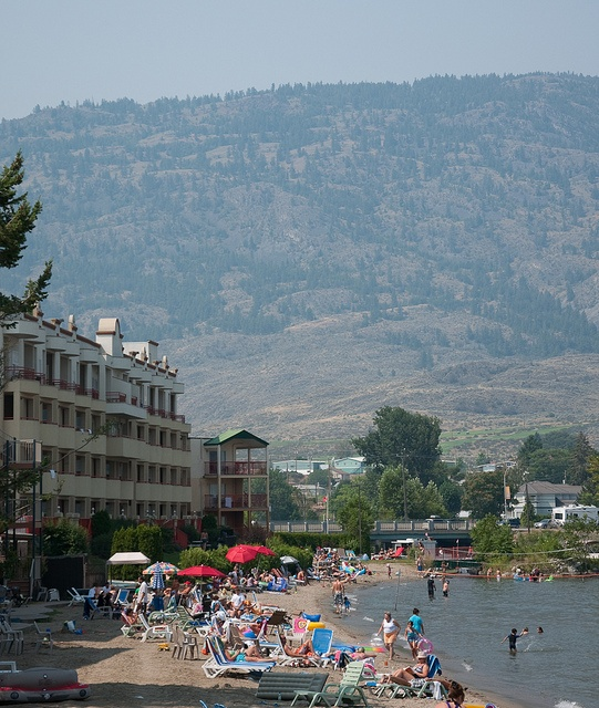 Osoyoos in the middle of summer. Stopped here on a scorching day in August. The views from higher up were beautiful.