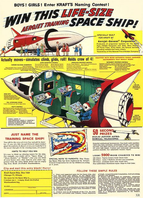 1959 Kraft Brand Marshmallows Aerojet Space Ship Contest Ad & Entry-Form #Rockets #SpaceAge #RetroFuturism