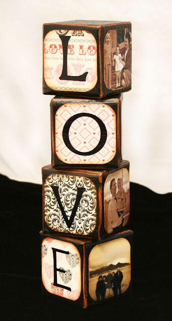 Wooden blocks with Love on one side and photos on the other three sides!