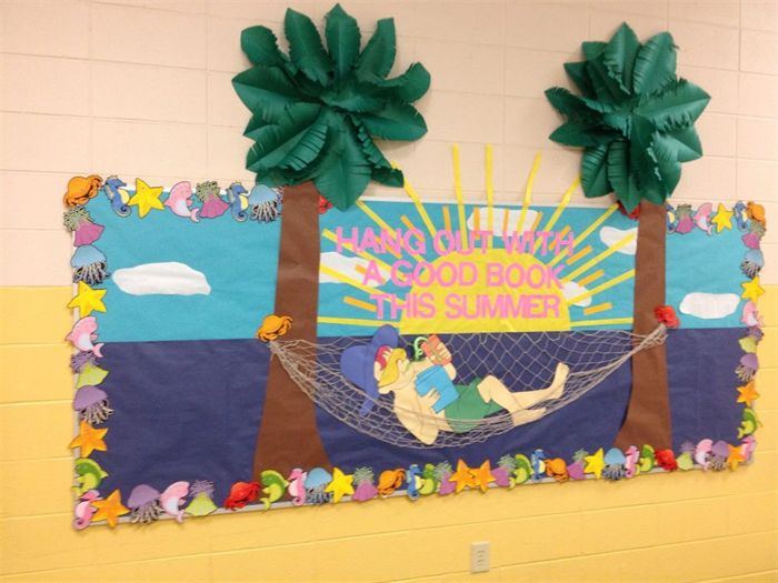 How fun is this reading and summer themed bulletin board idea?! http://www.mpmschoolsupplies.com/ideas/4775/hang-out-with-a-good-book-summer-reading-bulletin-board/