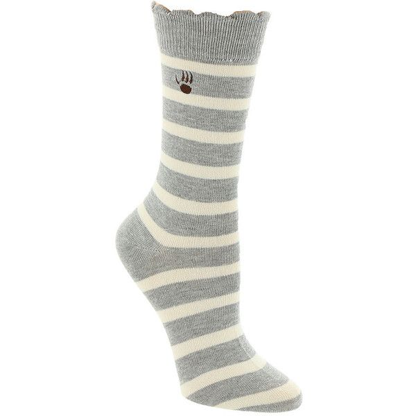 BEARPAW Women's Striped Crew Socks Grey Socks (£8.48) ❤ liked on Polyvore featuring intimates, hosiery, socks, grey, stripe socks, crew length socks, grey socks, crew cut socks and bearpaw