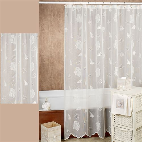 Seashells Lace Shower Curtain 72 x 72