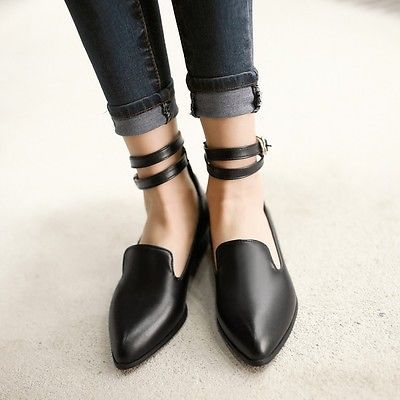 2015 Classic Womens Pointed Toe Flat Ankle Strap Pumps Oxfords Shoes Plus Size