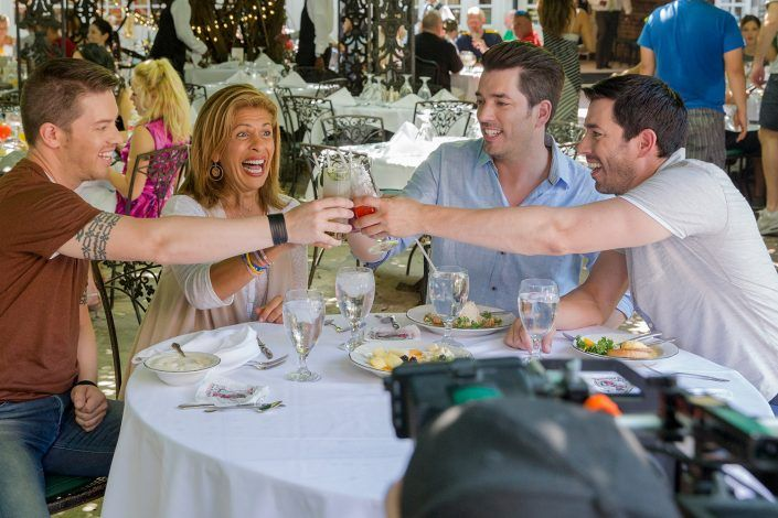 The three Scott brothers cheers to good company, delectable eats, and ice cold bevvies with Hoda Kotb.