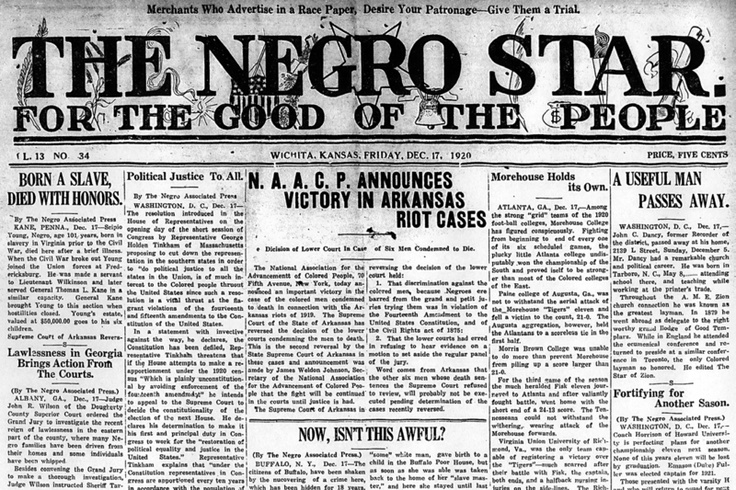 The Negro Star was an African-American newspaper created by Hollie T. Sims that ran from 1908 to 1953.[1] Sims founded the paper in Greenwood, Mississippi but moved it to Wichita, Kansas in 1919 as a result of racial hostility.[2]:241 Bringing national news to Wichita, the Star was one of few newspapers that provided African Americans news and access to African-American updates during the early to mid-1900s.File:Negro Star front page Dec 17 1920.png
