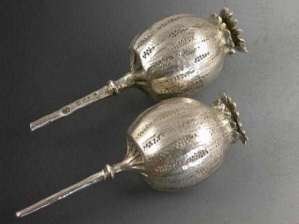 Pair Victorian Novelty Poppy Head Pomanders     CHARLES BOYTON, LONDON   1884