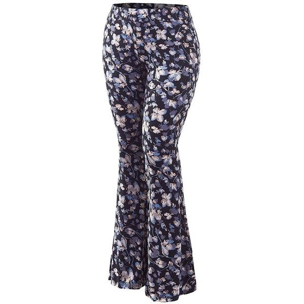 MK Womens Plus Size Printed High Waist Wide Leg Palazzo Pants Made in... ($16) ❤ liked on Polyvore featuring pants, high-waisted pants, plus size capris, wide-leg pants, women's plus size pants and high waisted wide leg pants