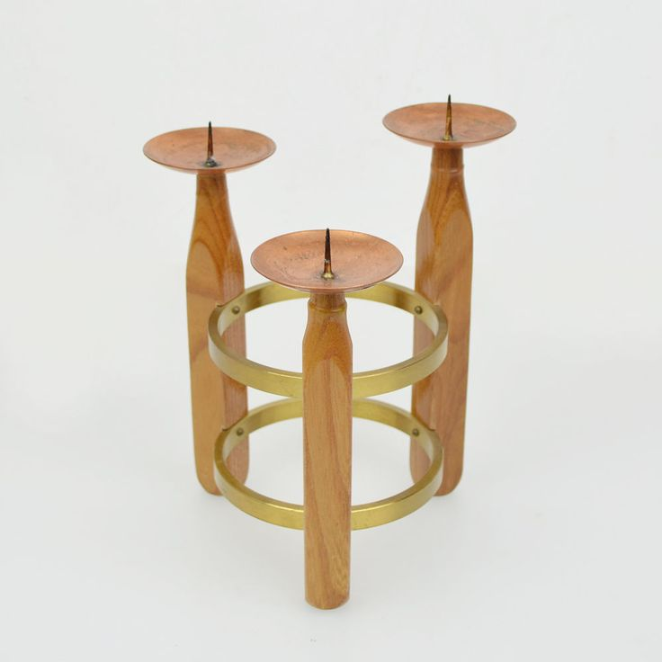 Vintage Kerzenständer Teak Messing Kupfer Midcentury Candle Holder Brass Copper