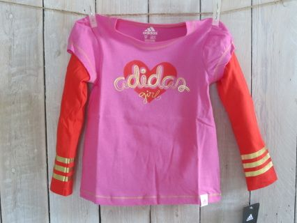 NEW with tag! Magic ADIDAS Girl high quality longsleeve layered tee. Size 2T Measurements : width 28 cm, length 39 cm, sleeve length 34 cm Code G025
