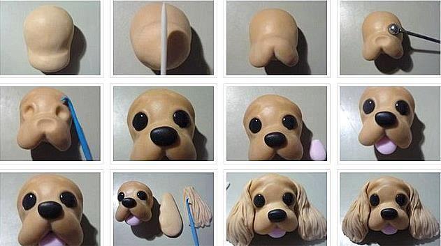 Como hacer la cara de un perrito en porcelana fria