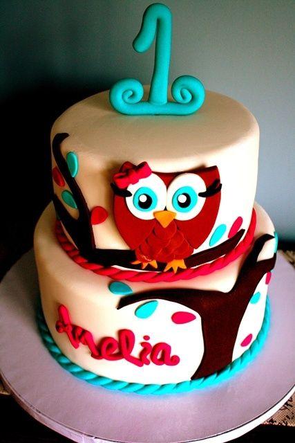 Children's Birthday Cakes - 1st Birthday Owl Themed Cake - Lisa! Pinned this for you girl! @Ashlee Outsen Outsen Outsen Outsen Hoff  @nikki striefler striefler striefler striefler   http://deliciouscakecollections800.blogspot.com