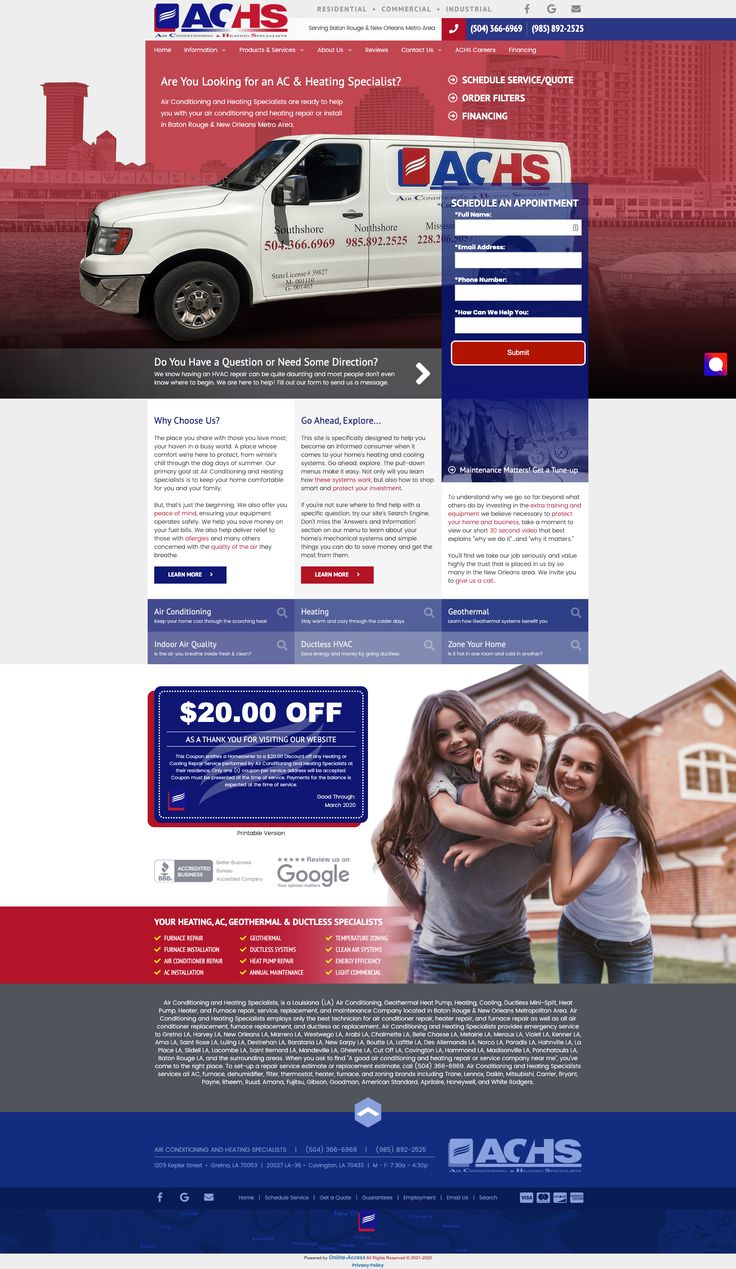 Branded heating and air conditioning website design in