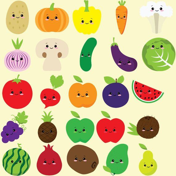 Cute Fruit Clipart Kawaii Vegetables Vegetable Clip Art Colorful Fruits Cute Healthy Food Kids Clipart Set Planner Sticker Png Sweet In 2021 Fruit Clipart Cute Fruit Kawaii Fruit