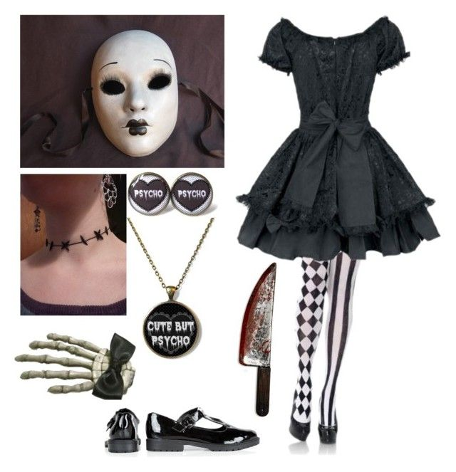 """Halloween costume idea #7 (Creepy Doll)"" by shadow-cheshire ❤ liked on Polyvore featuring Leg Avenue and Clips"