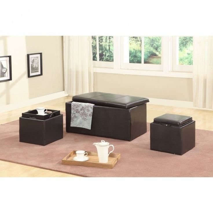 Brown Leather Storage Ottoman Set Of 3 Bench Trunk Furniture Footstool  Large New #BrownLeatherStorageOttoman
