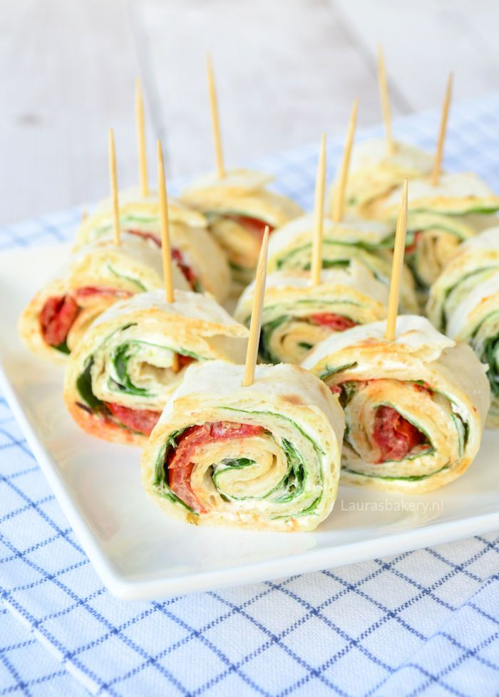 spinach cream cheese pinwheels - spinazie-roomkaas wraps - Laura's Bakery