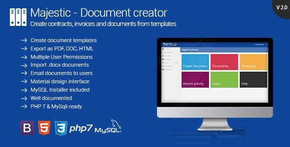 Majestic V2 1 Create Documents From Templates Generate Contracts And Invoices Web Software Document Templates Templates