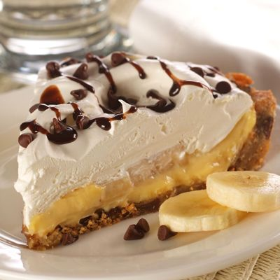 Chocolate Banana Cream Pie. Banana cream pie made easy! A chocolate chip cookie dough crust makes the dessert.