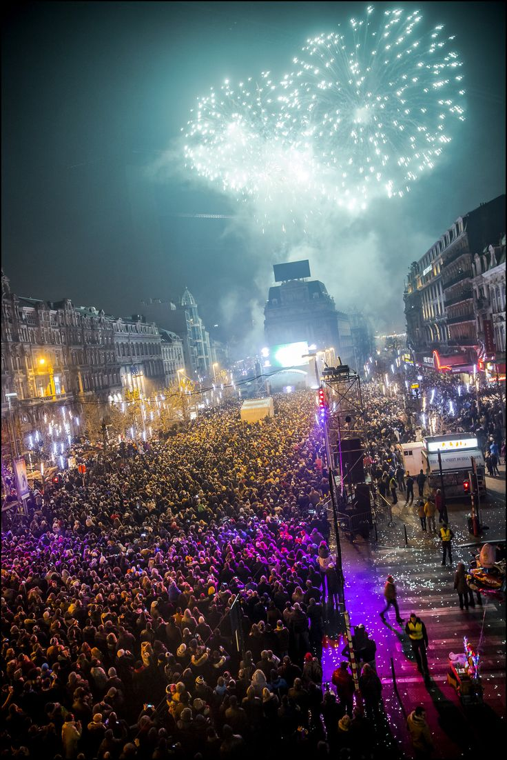 Feu d'artifice Place de Brouckère - vuurwerk nieuwjaar De Brouckèreplein - New Year's Eve 2015 © Eric Danhier