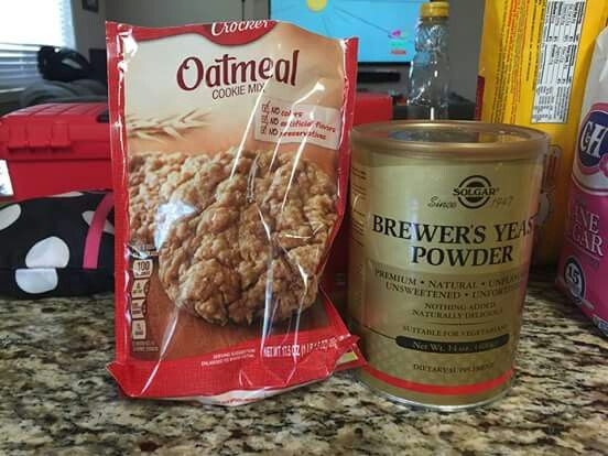 Lactation cookies - Get Betty Crocker oatmeal cookie mix get some Brewers yeast. I found it vitamin shoppe there is one on Val vista and baseline in Dana park. Add 4 Tbs of Brewers yeast and 2 TBs water (total) add chocolate chips if wanted and bake like normal. So quick and easy.