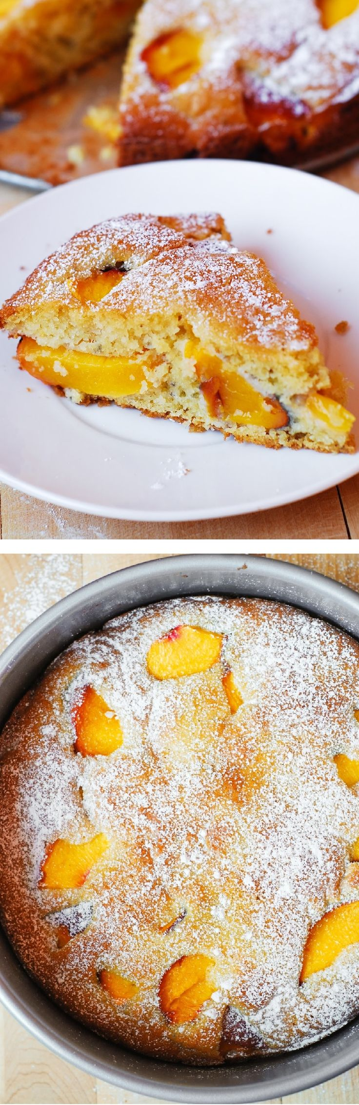Amazing, easy-to-make, everyday recipe: Gluten Free Peach Yogurt Cake, made without any gums, using gluten-free (and gum-free) multi-purpose flour (King Arthur brand), and Greek yogurt!