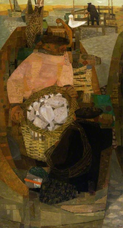 Fishermen in a Boat by Prunella Clough Aberdeen Art Gallery & Museums Date painted: 1949 Oil on canvas, 140 x 76 cm Collection: Aberdeen Art Gallery & Museums