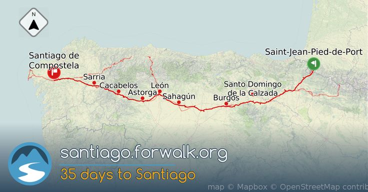 Information and tips on the Camino de Santiago , The French Way route 35 days to Santiago. Trakking trails, stages and routes with walking time, elevation data and distance in km and miles.
