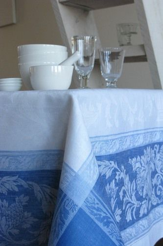 Provence White/Blue Linen Tablecloth $170.00