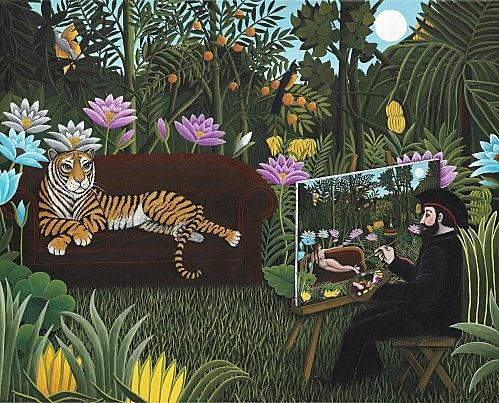 """""""Le Douanier en plein """"Rêve"""""""" 41 x 33 cm © Catherine MUSNIER  Hommage au Douanier Rousseau"""