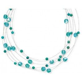 """16"""" + 2"""" Extension Aqua Glass and Turquoise 6 Strand Necklace"""