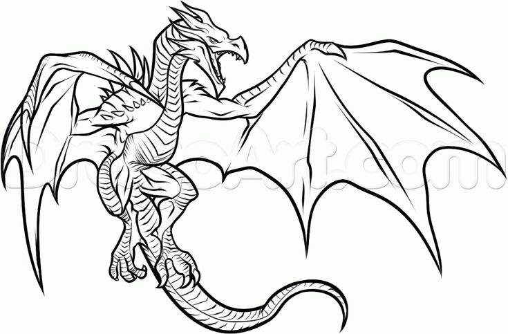How to Draw a Dragon From Skyrim, Step by Step, Video Game Characters ...