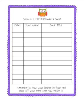 Owl Themed Classroom Library Sign Out
