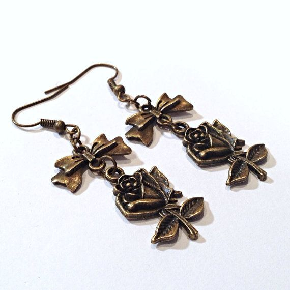 Bronze Rose Bow Earrings $8   www.teacuprose.etsy.com