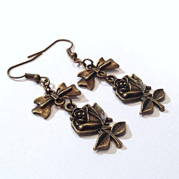 Bronze Rose Bow Earrings $8   www.teacuprose.etsy.com