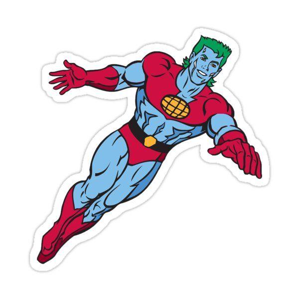 Captain Planet Sticker Superhero Stickers Cartoon Stickers Cool Cartoons