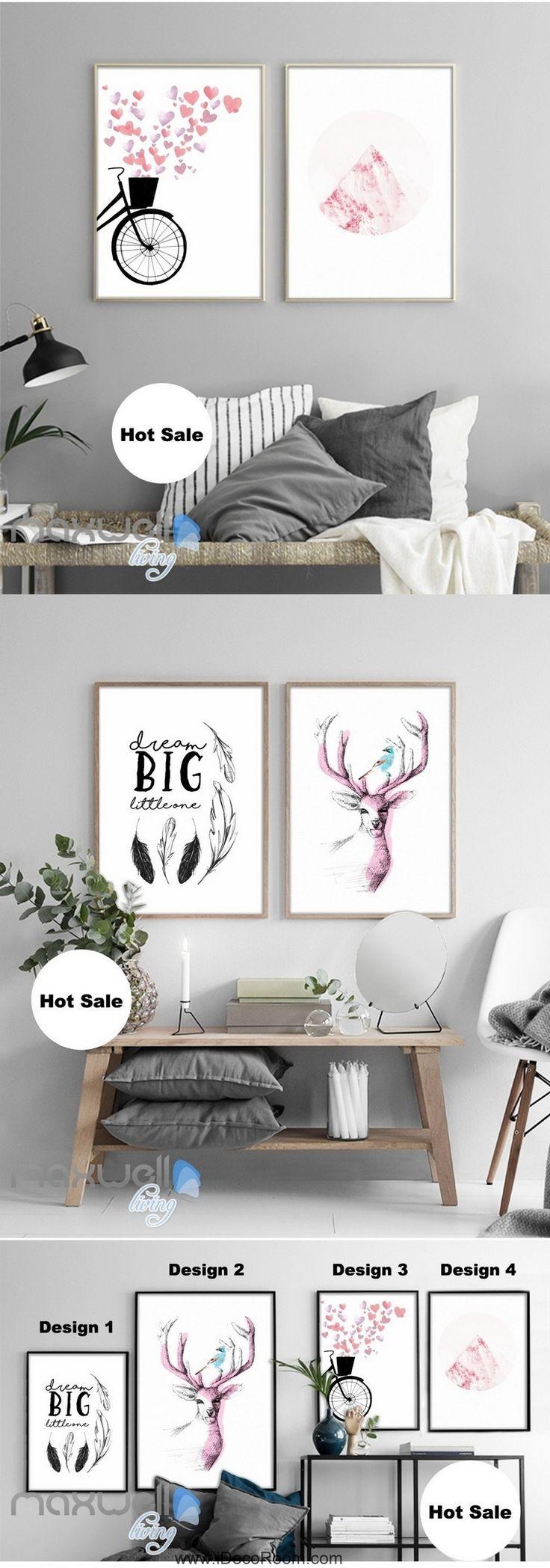 Watercolor Deer Head Bird Heart Dream Big Canvas Prints Wall Art Decals Unframed IDCCV-BO-000022